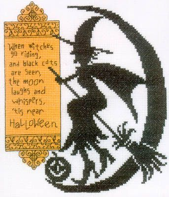 Witches Ride Cross Stitch Halloween Chart Diane Arthurs Go Riding and Black Cats
