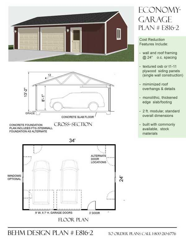 Economy 2 car workshop garage plan e816 2 34 39 x 24 39 by 24 x 28 garage plans free