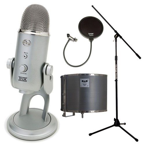 Blue Microphones YETI USB Microphone (Silver Edition) w/ CAD Acoustic Enclosure & Knox Pop Filter Bundle