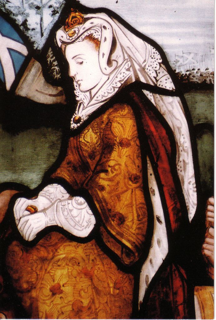Mary, Queen of Scots stained glass window inside the Carmelite Convent in Glasgow, Scotland