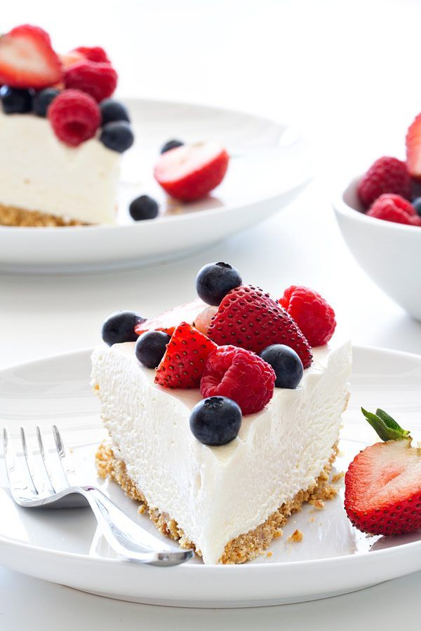 No Bake Frozen Cheesecake is the perfect way to celebrate summer. Top it fresh berries or chocolate sauce for one delicious dessert!