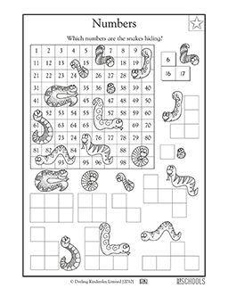 1st grade, Kindergarten Math Worksheets: Sneaky snake