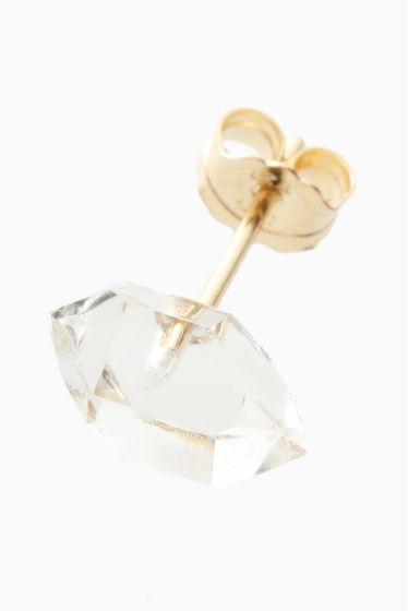 ARCHIV ハーキマダイヤモンド ピアス  ARCHIV ハーキマダイヤモンド ピアス 7560 透明さが綺麗なハーキマダイヤモンドを使用した一粒ピアス さりげなく耳元を飾ります ハーキマダイヤモンド 鉱物学的には水晶ですが通常の水晶とは違うエネルギーを持ちます ドリームクリスタルとも呼ばれていてこの石を身に付けることで非常に鮮明な予知夢を見ることがありその夢がとても重要な気付きを与えてくれると言われることからその名が広く浸透しました そんな神秘的なことから夢見の石とも呼ばれています ARCHIV(アーカイブ) 国内のアクセサリーブランド ブランド名ARCHIVはアーカイブ(記録)という単語の意味合いを持ちます デザイナー自身が今まで保管してきた知識や技巧を最大限に発揮したいという願いが込められたアクセサリー 主剤はゴールドシルバー天然石を使用 すべてデザイナーの手により丁寧に仕上げられています
