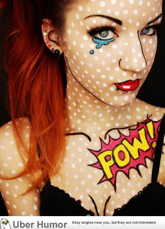 Comic Halloween makeup idea | uberHumor.com Definitely doing this for halloween!