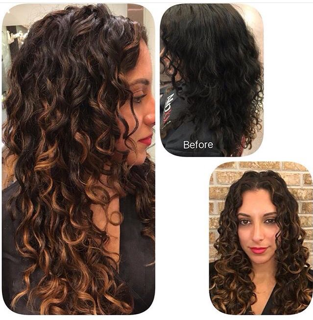 Brown highlights on black curly hair