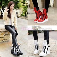 Ladies High Top Trainers Platform Wedge Heels Sneakers Lace Up Boots Round Toe