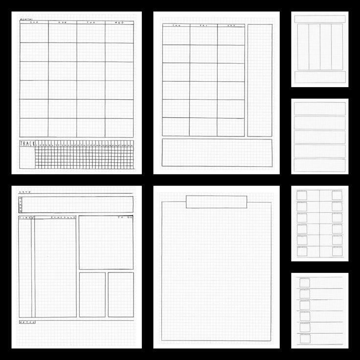 Bullet Journal planificateur Inserts modèles par BlacklineMasters