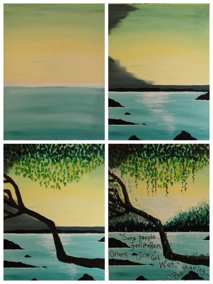 """Evolution of """"Feel the Rain"""" painted @ Painting with a Twist Miami."""