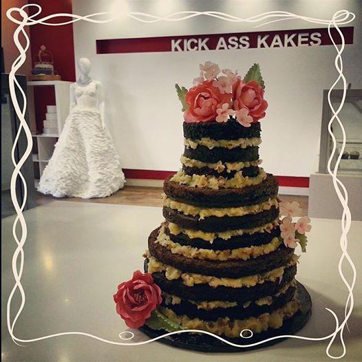 Custom 3-tier wedding German Chocolate Cake with gum paste peonies. Kick Ass Kakes, Phoenix, Arizona. http://kickasskakes.com/