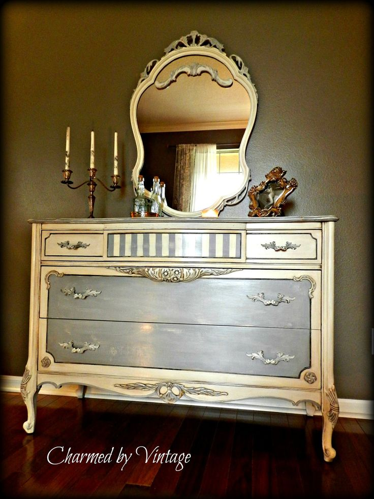 Great Dresser And Mirror Painted By Odessa, FLu0027s Charmed By Vintage In  Chalk Paint® Decorative Paint By Annie Sloan. Paris Grey, Old White And  Dark Wax.