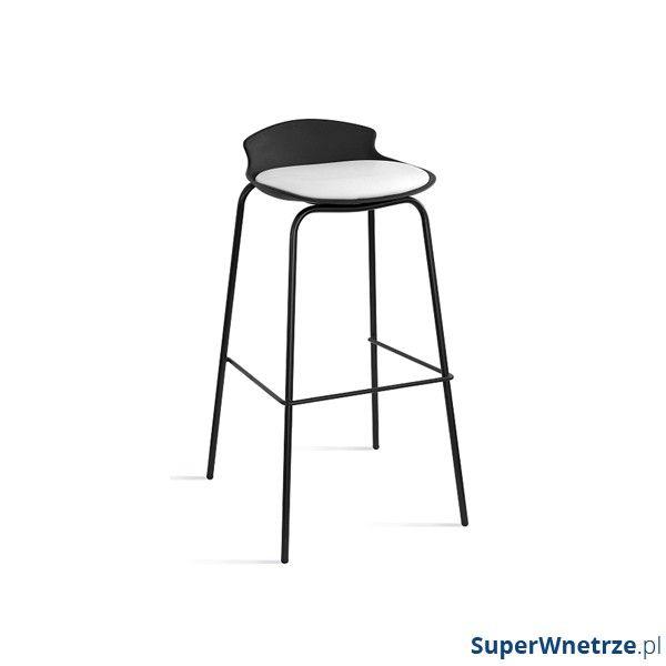 Krzesło barowe Unique Duke czarno-białe 7-87A-4-0
