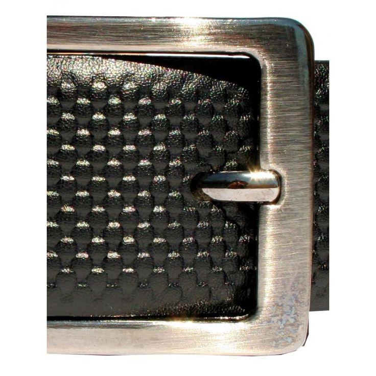 Ανδρική Ιταλική δερμάτινη ζώνη κουστουμιού, ανάγλυφο σχέδιο, μαύρο χρώμα