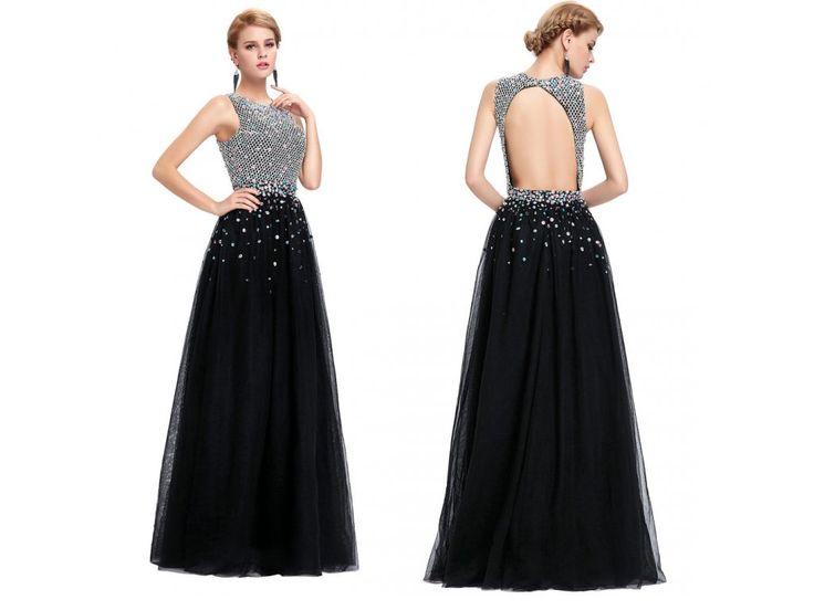 ČERNÉ společenské šaty vykládané kameny, SKLADEM - Bestmoda - black prom evening dress with crystals
