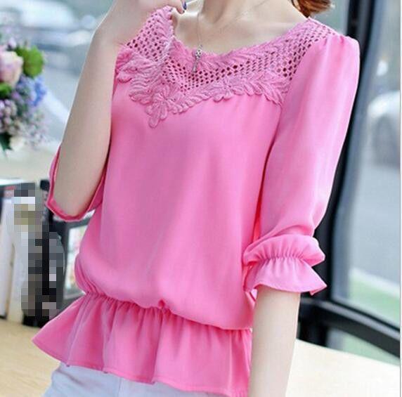Women's Large Size Loose Lace Shirt Short-Sleeved T-Shirt Female Chiffon Shirt