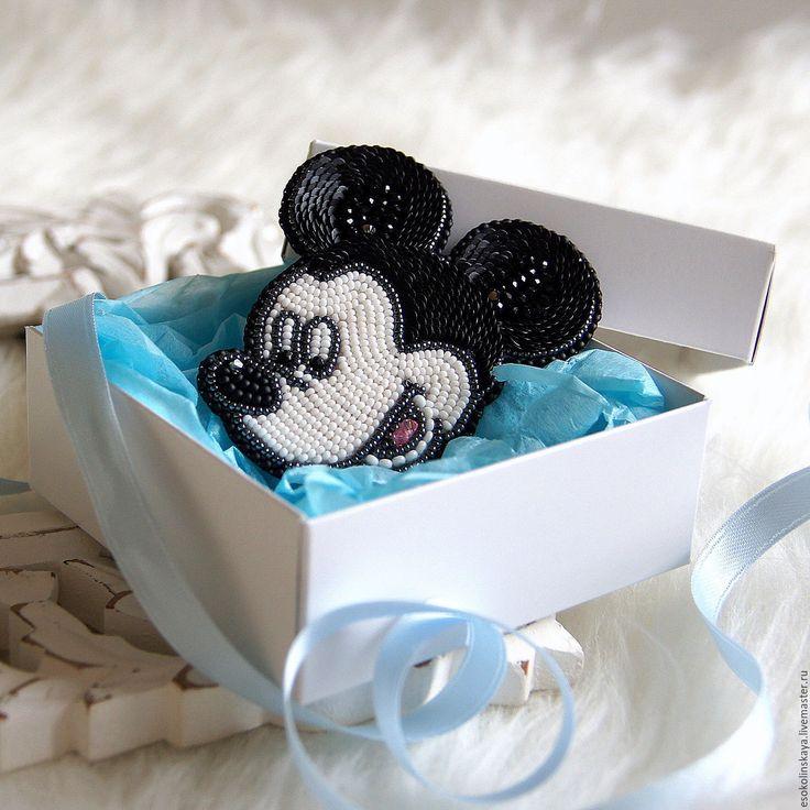 Купить Брошь Микки Маус - чёрно-белый, брошь с микки, Микки Маус