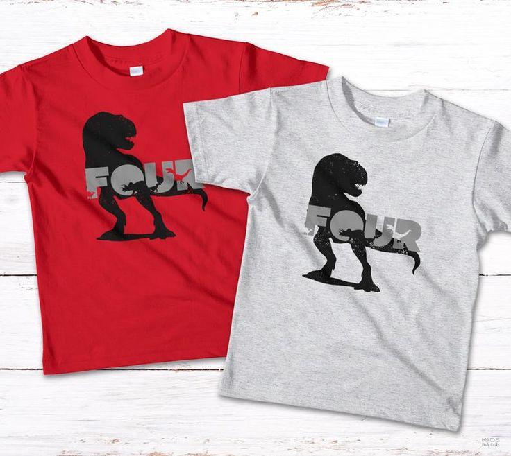 Dinosaur tshirt number 4 dinosaur four kids tshirt