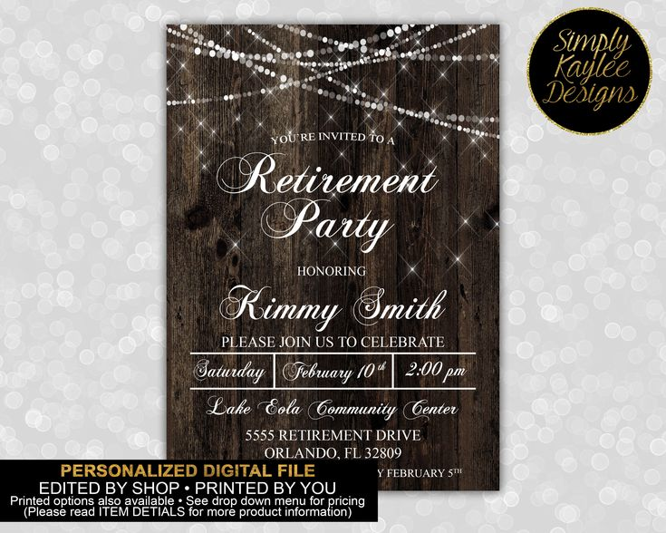 Rustic Retirement Party Invitations by SimplyKayleeDesigns on Etsy https://www.etsy.com/listing/266880091/rustic-retirement-party-invitations