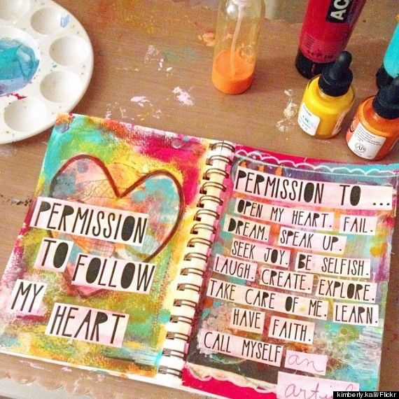 Create a permission slip --- 10 Easy Art Therapy Techniques To Help You De-Stress