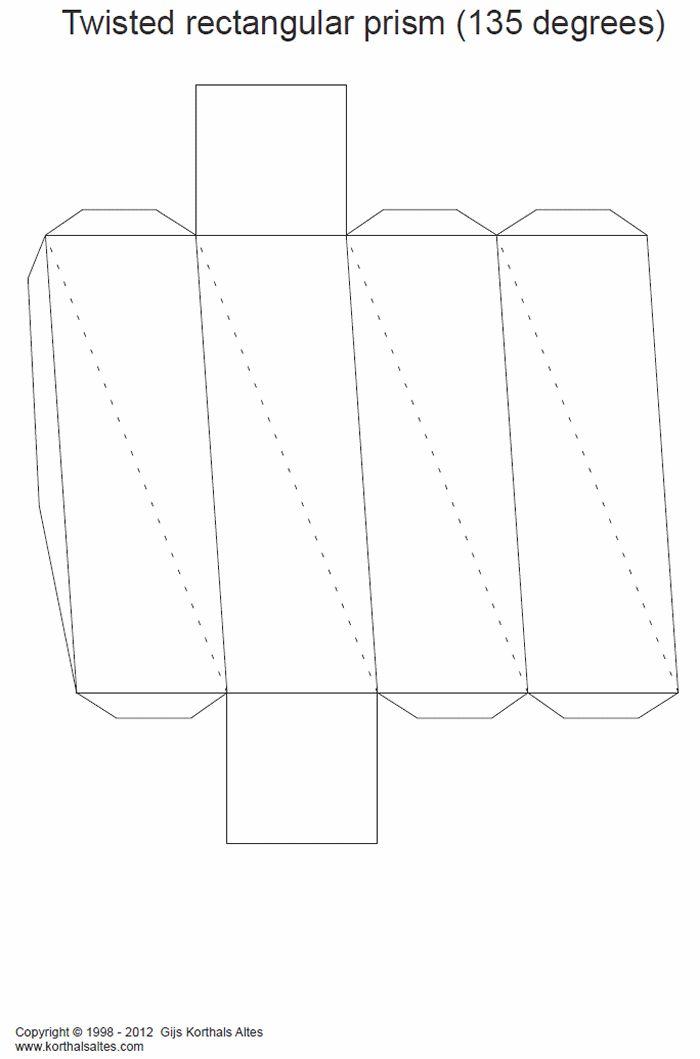 desarrollo plano de unprisma rectangular torcido