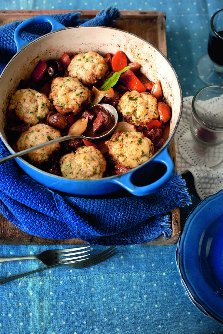 This beef stew recipe is cooked slowly so that the beef is wonderfully tender. The Cheddar and parsley dumplings are a perfect accompaniment. It can also be frozen.