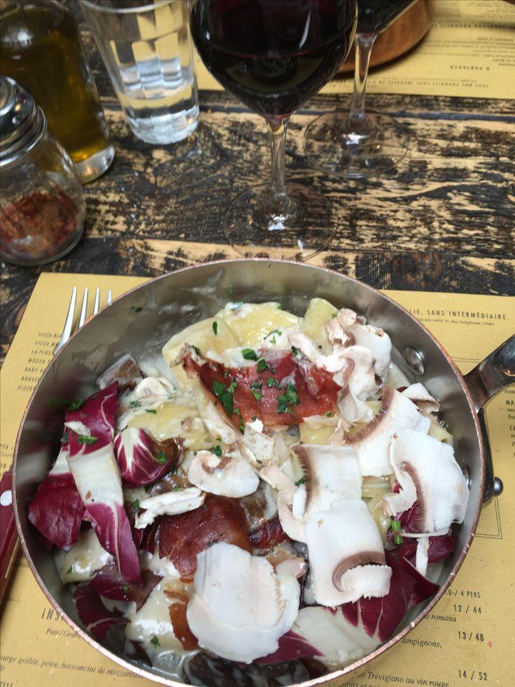 Divines pâtes crème de gorgonzola  trévise et speck de #Obermamma