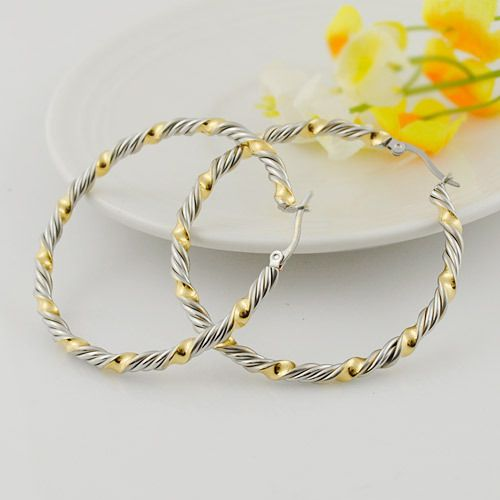 silver&gold circle Creole Earrings Stainless Steel Big / Small Round Basketball Wives Hoop Earrings Bamboo gifts for women,WE222