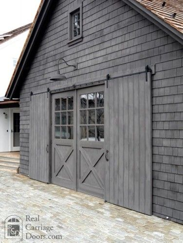 Exterior Shutters I like this hardware for the exterior barn doors on the back of the house and front of the house-only a little bit of metal showing; Farmhouse style, gray