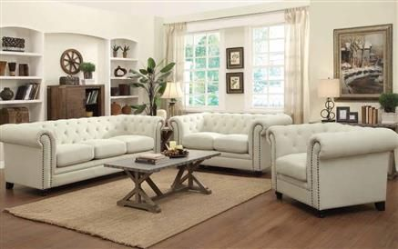 Roy Traditional Oatmeal Fabric Living Room Set