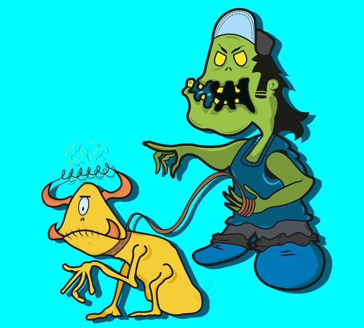 #old #monster #pet #cartoon #draw #Illustration #TheBhairTapia #NoSoyIlustrador #weird #bizarre #creepy #thrashmetal #punk #colorful
