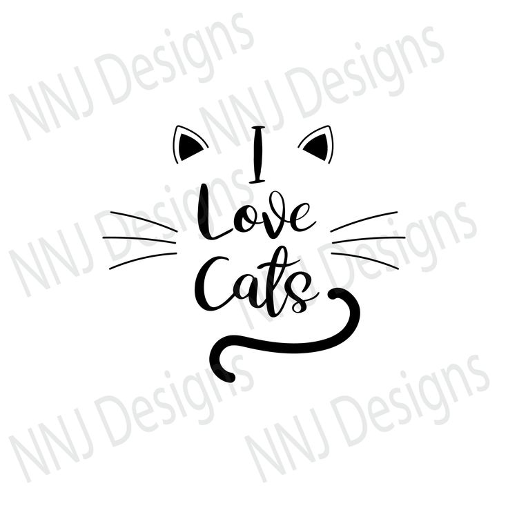 Download I Love Cats SVG Pets Lover Cute Clipart Silhouette Cricut ...