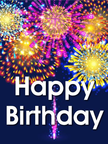 Vivid Birthday Fireworks Card: Celebrate good times when you send this explosive and colorful birthday card! It is a dynamite way to wish someone a very happy birthday. Bright, technicolor fireworks light up this birthday card. A fun birthday greeting to add some pop and pizzazz to your friend's special day! Who doesn't love fireworks? This birthday card puts on a good show of eye-catching sparkles and bold bursts of color.
