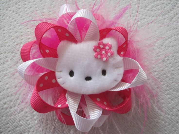 """3.5"""" Stacked Loopy Hair bows with Felt Hello Kitty Applique/Pink"""