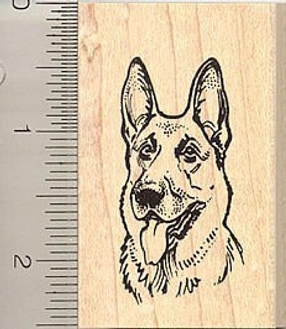 German Shepherds Dogs Two Rubber Stamps