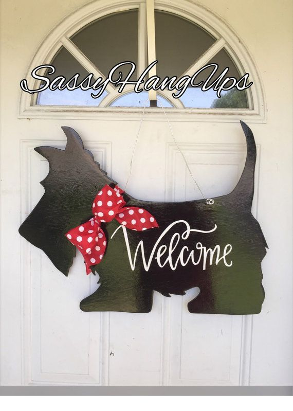 Scottie Dog Door Hanger Scottie Dog Scottish by SassyHangUps