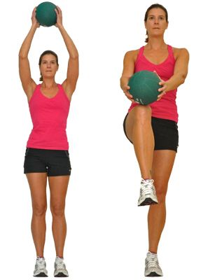 Try These Unique Medicine Ball Exercises to Work Your Body and Core: Knee Lifts with a Medicine Ball