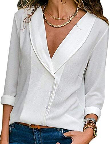 b3c3ac55b4ad Chemisier Femme Manche Longue Élégant Col V Mousseline de Soie Blouse  Chemise Chic Bouton Casual Classique Tunique Tee Tops Hauts T-Shirts (Blanc  XL)