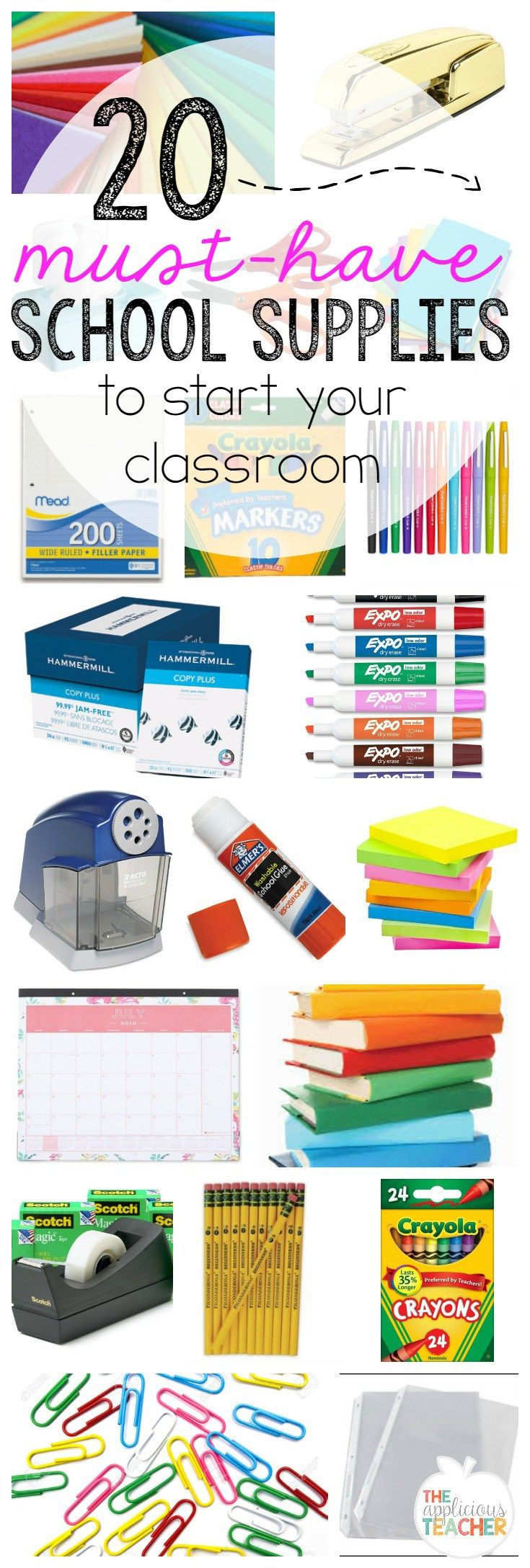 20 Must-have school supplies to start your classroom. New teacher low on cash? These are the top 20 things you should be buying for your classroom!