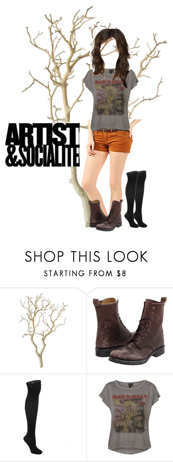 """Shorts from Stitches :)"" by boxingclever ❤ liked on Polyvore featuring Frye, Bakers, combat boots, heavy metal, stitches, shorts, tee, band shirt and wavy hair"
