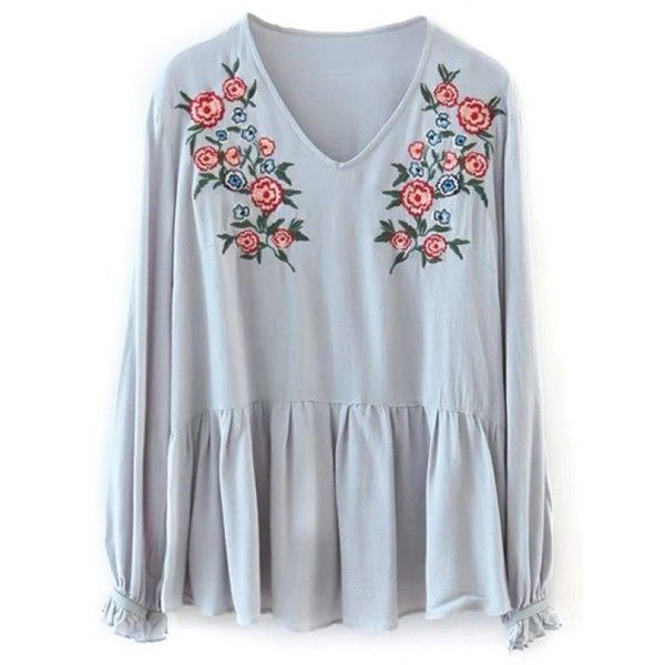 Smock Floral Embroidered T-Shirt Light Gray ($24) ❤ liked on Polyvore featuring tops, t-shirts, smock top, smocked top, light gray t shirt and light grey t shirt
