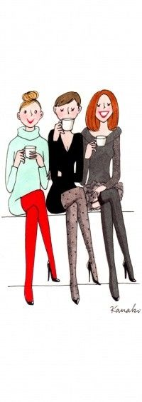 Café con amigas <3.....Dina, Donna< Nada....Eva is out of the picture cause she's drinking sweet tea! LOL