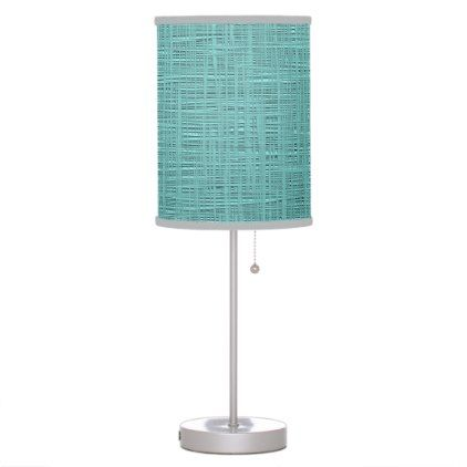 #home #lamps #decor - #Cute Teal Turquoise Green Faux Jute Fabric Pattern Desk Lamp
