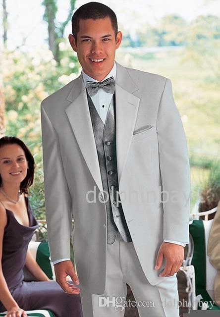 2015 Custom Light Grey Groom Tuxedos Two Button Notch Lapel Best Man Groomsmen Wedding Suits Jacket+Pants+Vest+Bow Tie N037 Purple Tuxedos For Prom Tuxedo Tail Coat From Dolphinbay, $89.37| Dhgate.Com