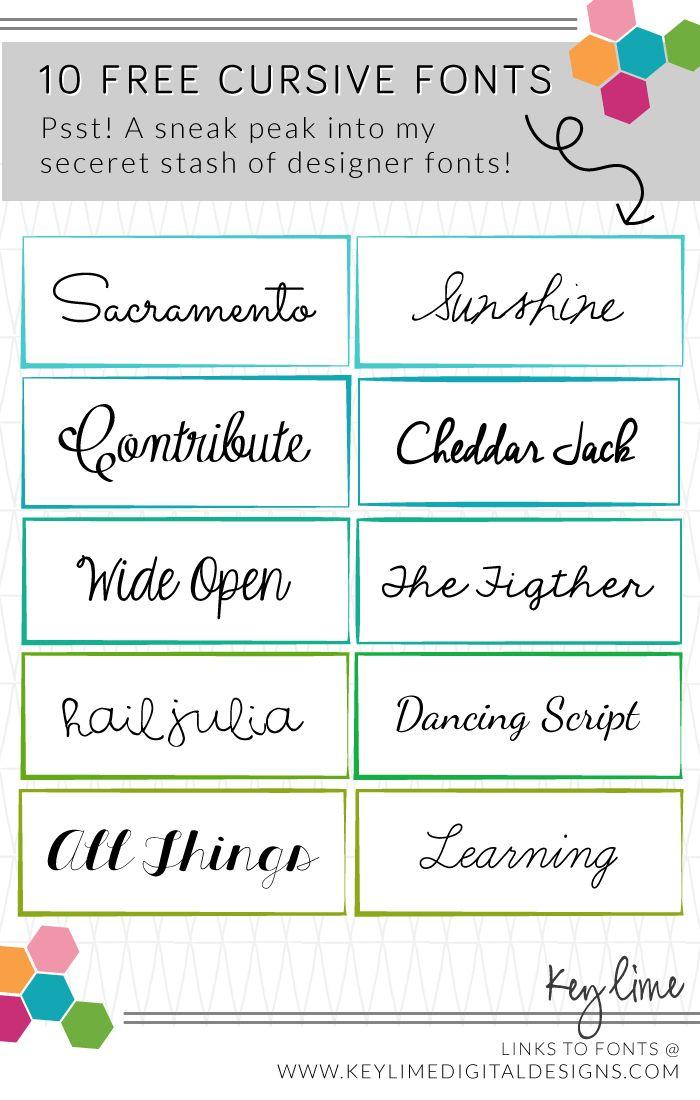 Free Cursive Fonts from my secret design stash! :)