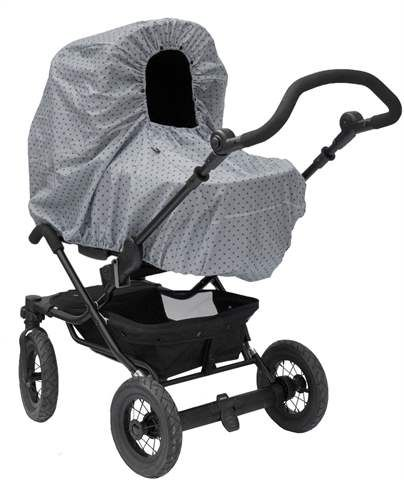 Regnslag i et tidløst design fra Vinter & Blooms Mini Dots kollektion. Beskytter både barnet og vognen mod regn og kolde vinde. Regnslaget kan både anvendes på liggevogne og klapvogne. Åbningen er udstyret med ventilerende huller