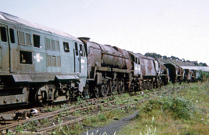 1973 line-up. The diesel (D6122) didn't survive, being cut up in June 1980. The steam locos are still with us.--- Barry Scrapyard -- England