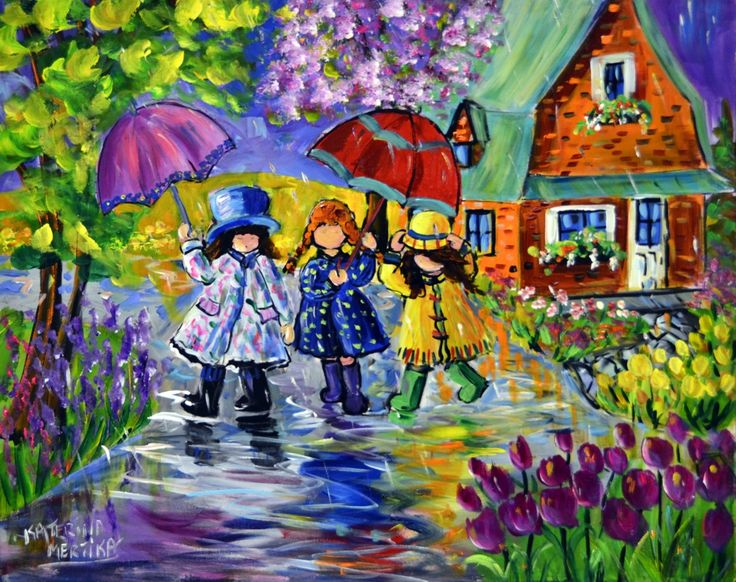 New to Koyman July 2015 Glamour in the rain. View and buy this Acrylic on Canvas Painting by Katerina Mertikas