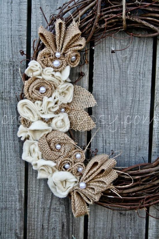 Burlap flowers wreath