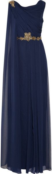 Notte By Marchesa Draped Embellished Silkchiffon Gown in Blue (Navy) - Lyst