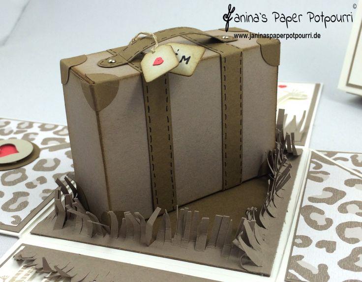 jpp - Safari Explosionsbox zur Hochzeit / Geldgeschenk / exploding box / wedding gift / Afrika / Animal Print / Koffer / Reise Taschengeld /Stampin' Up! Berlin / Zoobabies / Doppelt Gemoppelt / Baumstanze / Tree Builder  www.janinaspaperpotpourri.de