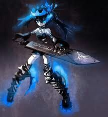 (Black Rock Shooter in beast form) That's the best look of her, I like the black-blue thing the most